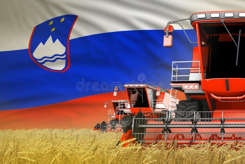 Η βιομηχανική τρισδιάστατη απεικόνιση τριών κόκκινου σύγχρονου συνδυάζει τις θεριστικές μηχανές με τη σημαία της Σλοβενίας στον α ελεύθερη απεικόνιση δικαιώματος