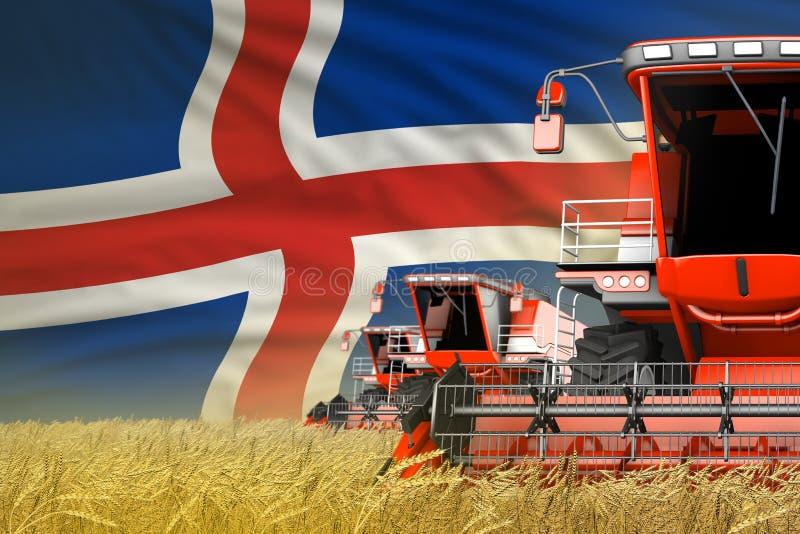 Η βιομηχανική τρισδιάστατη απεικόνιση τριών κόκκινου σύγχρονου συνδυάζει τις θεριστικές μηχανές με τη σημαία της Ισλανδίας στον α ελεύθερη απεικόνιση δικαιώματος