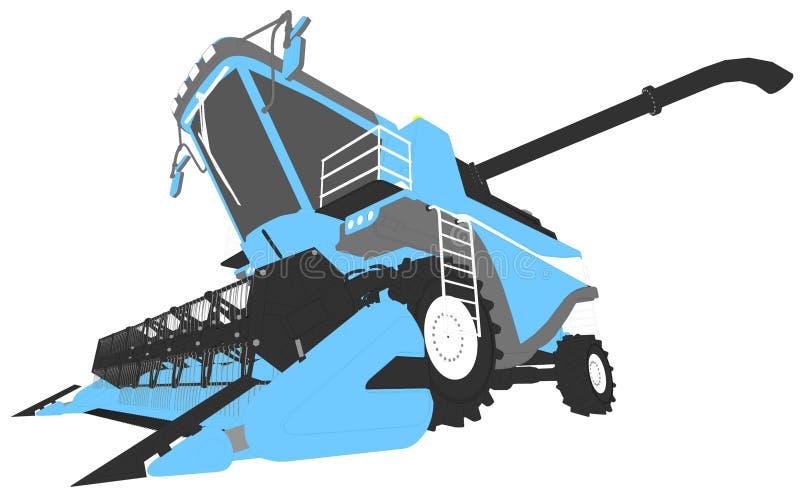 Η βιομηχανική τρισδιάστατη απεικόνιση των κινούμενων σχεδίων χρωμάτισε το τρισδιάστατο πρότυπο της αγροτικής γεωργικής θεριστικής διανυσματική απεικόνιση