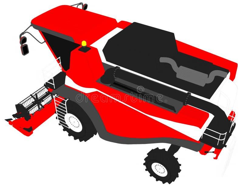 Η βιομηχανική τρισδιάστατη απεικόνιση των κινούμενων σχεδίων χρωμάτισε το τρισδιάστατο πρότυπο του τεράστιου κόκκινου σίτου γεωργ διανυσματική απεικόνιση