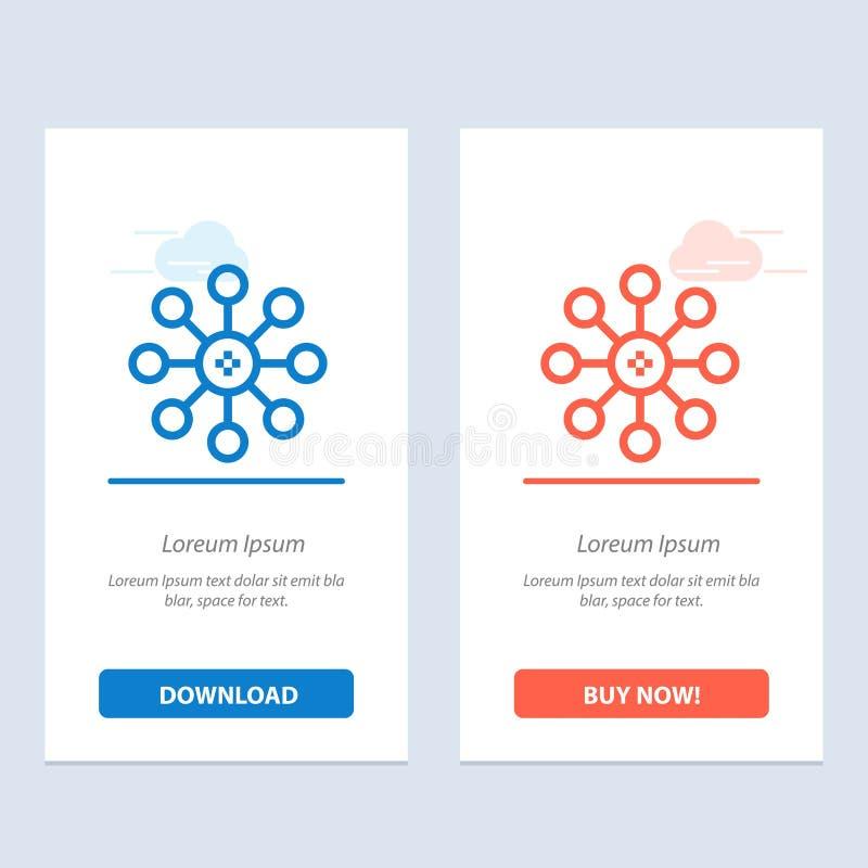Η βιοχημεία, η βιολογία, το κύτταρο, η χημεία μπλε και το κόκκινο μεταφορτώνουν και αγοράζουν τώρα το πρότυπο καρτών Widget Ιστού απεικόνιση αποθεμάτων
