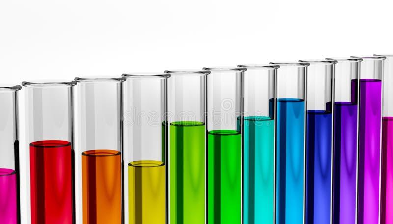 Η βιολογία - χημικές ουσίες - βιομηχανία - λύσεις - σωλήνας δοκιμής διανυσματική απεικόνιση