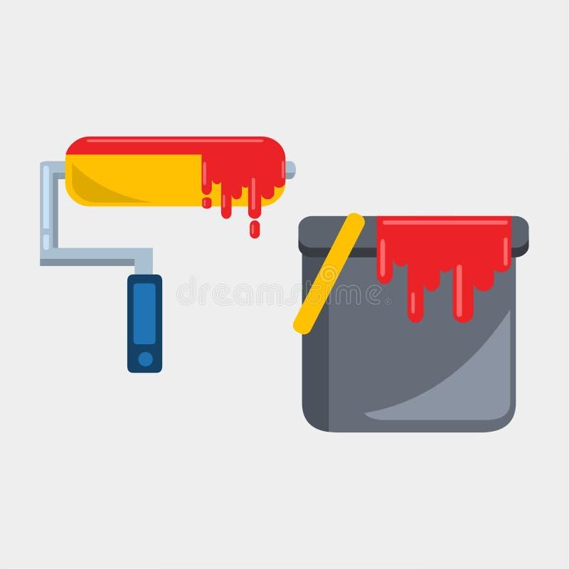 Η βούρτσα χρωμάτων κυλίνδρων με το χρώμα κονσερβοποιεί τη διανυσματική απεικόνιση διανυσματική απεικόνιση