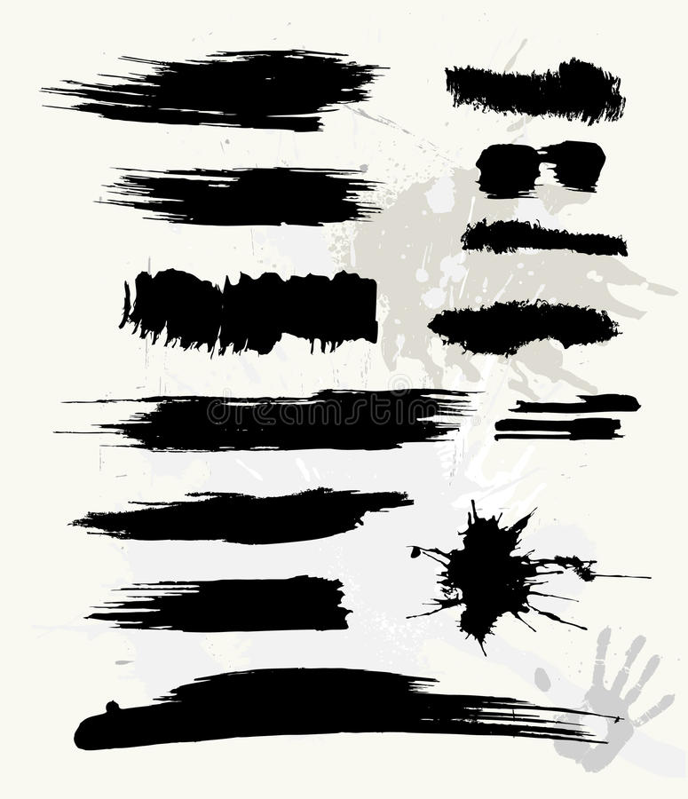 η βούρτσα grunge έθεσε διανυσματική απεικόνιση