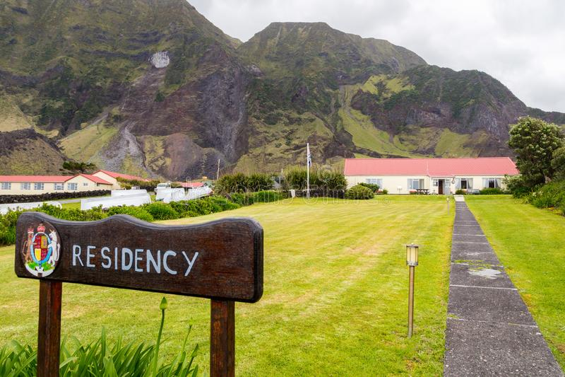 Η βρετανική αρμοστεία κυβερνητών, καθοδηγεί, κάλυψη των όπλων Εδιμβούργο της πόλης επτά θαλασσών, νησί του Tristan DA Cunha, νότι στοκ εικόνες