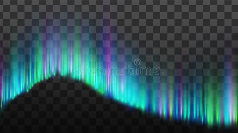 Η βόρεια αυγή ανάβει το διάνυσμα Borealis λουρίδων απεικόνιση αποθεμάτων