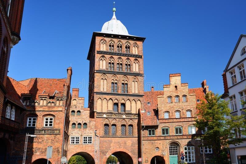 Η βόρεια πύλη πόλεων του Λούμπεκ Burgtor, Γερμανία στοκ εικόνα