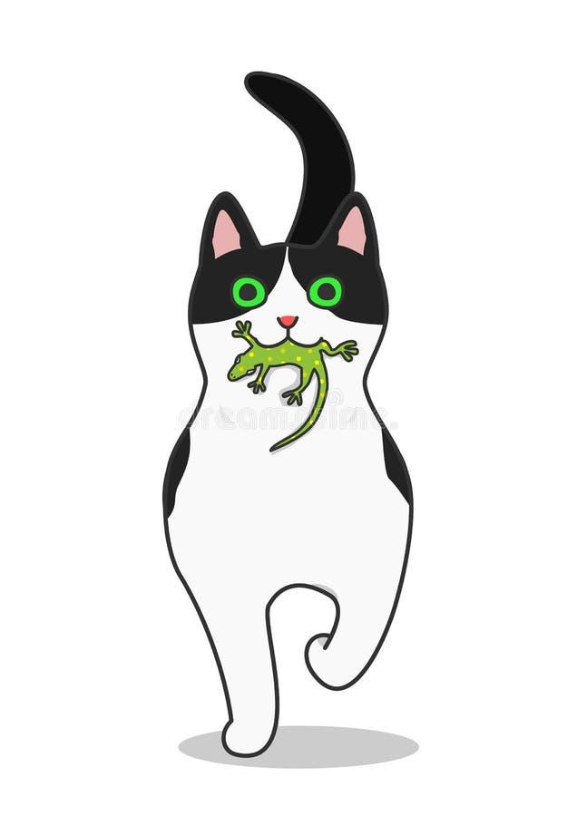 Η γάτα έρχεται τρέχοντας με μια σαύρα στο στόμα της απεικόνιση αποθεμάτων