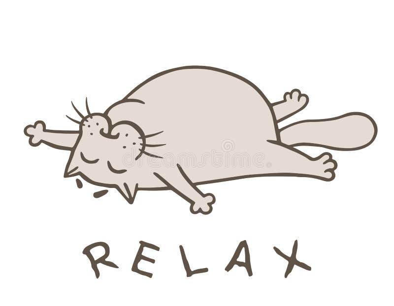 Η γάτα κινούμενων σχεδίων έφαγε και πήγε στον ύπνο επίσης corel σύρετε το διάνυσμα απεικόνισης διανυσματική απεικόνιση