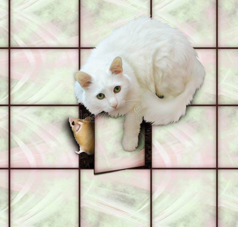 Η γάτα πιάνει το ποντίκι στοκ εικόνες
