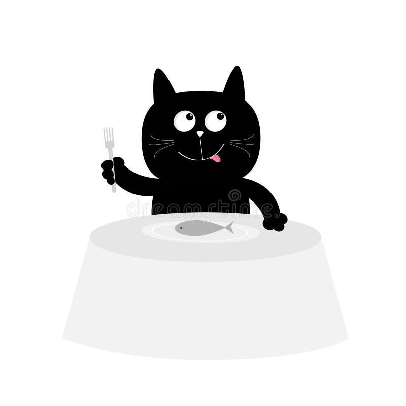Η γάτα τρώει τα ψάρια Χαριτωμένος χαρακτήρας κινουμένων σχεδίων Πιάτο, δίκρανο, πίνακας καπνισμένος γάμος ντοματώ&nu Ευτυχές μαύρ απεικόνιση αποθεμάτων