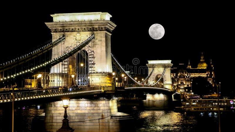 Η γέφυρα αλυσίδων στη Βουδαπέστη στην ανατολή του φεγγαριού στοκ εικόνα με δικαίωμα ελεύθερης χρήσης