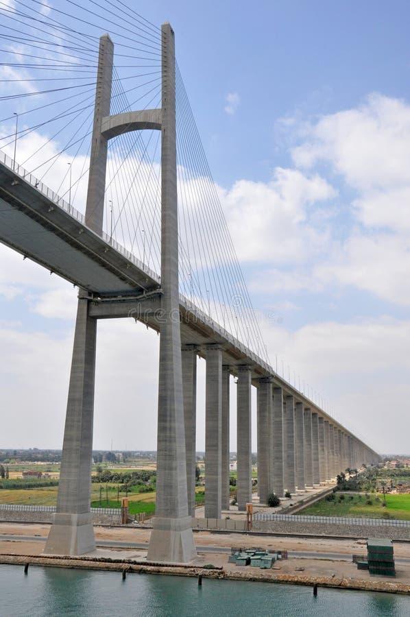 Η γέφυρα καναλιών Σουέζ, είναι μια οδική γέφυρα διασχίζοντας το κανάλι Σουέζ στοκ φωτογραφία
