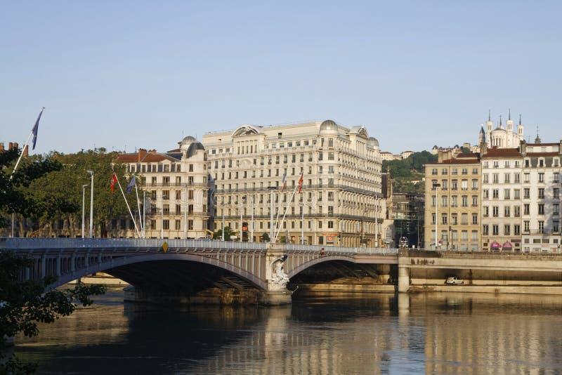 Η γέφυρα Λαφαγέτ στη Λυών στο πρωί στοκ φωτογραφία