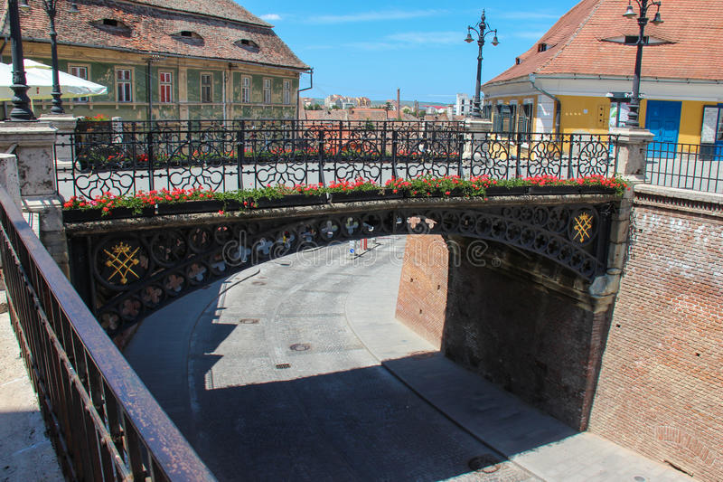 Η γέφυρα της γέφυρας ψεμάτων/των ψευτών - Sibiu, Ρουμανία στοκ εικόνα με δικαίωμα ελεύθερης χρήσης