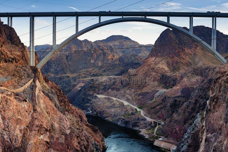 Η γέφυρα Hoover από το φράγμα Hoover στοκ εικόνα