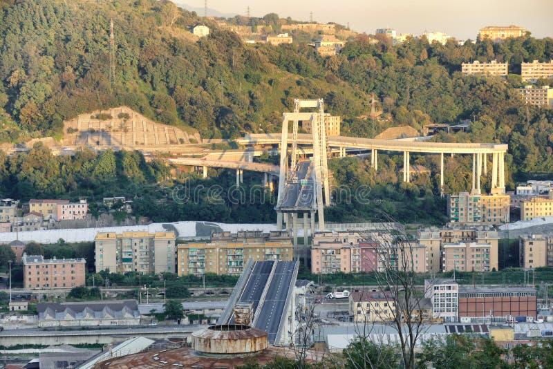Η γέφυρα Morandi κατέρρευσε στις 14 Αυγούστου στη Γένοβα Ιταλία στοκ φωτογραφία με δικαίωμα ελεύθερης χρήσης