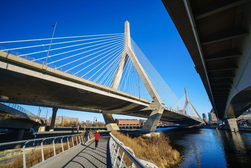 Η γέφυρα Zakim στη Βοστώνη, Μασαχουσέτη στοκ εικόνες