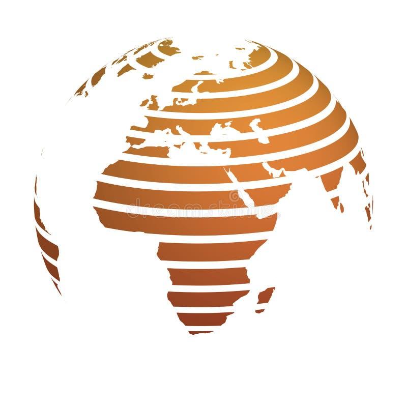 Η γήινη σφαίρα με τον πορτοκαλή ριγωτό χάρτη παγκόσμιου εδάφους εστίασε στην Αφρική και την Ευρώπη τρισδιάστατο διάνυσμα απ&e απεικόνιση αποθεμάτων
