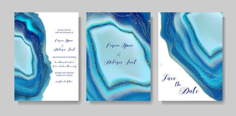 Η γαμήλια μόδα geode ή το μαρμάρινο πρότυπο, καλλιτεχνικές καλύψεις σχεδιάζει, ζωηρόχρωμα ρεαλιστικά υπόβαθρα σύστασης Καθιερώνον διανυσματική απεικόνιση