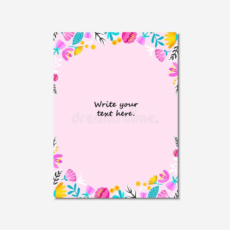 Η γαμήλια πρόσκληση, ή η κάρτα γενεθλίων, floral προσκαλεί, σύγχρονο σχέδιο καρτών: η ψηφιακή συρμένη χέρι κρητιδογραφία ανθίζει  απεικόνιση αποθεμάτων