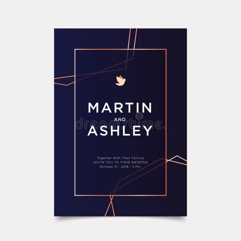 Η γαμήλια πρόσκληση, ύφος deco τέχνης προσκαλεί ευχαριστεί σας, rsvp το σύγχρονο σχέδιο καρτών με μπλε ναυτικό και άσπρο χρυσό γε διανυσματική απεικόνιση