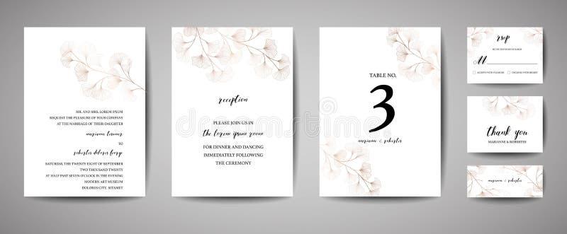 Η γαμήλια πρόσκληση, floral προσκαλεί σας ευχαριστεί, rsvp σύγχρονο σχέδιο καρτών στους κλάδους φύλλων biloba ginkgo χαλκού ελεύθερη απεικόνιση δικαιώματος