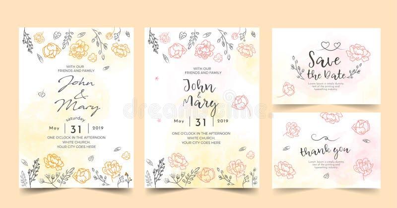 Η γαμήλια πρόσκληση, floral προσκαλεί σας ευχαριστεί, rsvp σύγχρονο σχέδιο καρτών Διανυσματικό κομψό αγροτικό πρότυπο watercolor απεικόνιση αποθεμάτων