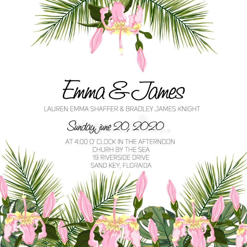 Η γαμήλια πρόσκληση, floral προσκαλεί το σχέδιο καρτών με τα πράσινα τροπικά δασικά φύλλα φοινίκων, δασική πρασινάδα φτερών διανυσματική απεικόνιση