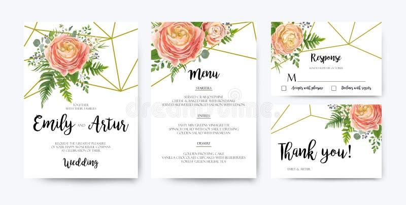 Η γαμήλια πρόσκληση, floral προσκαλεί το σχέδιο καρτών: το ρόδινο ροδάκινο αυξήθηκε Ρ απεικόνιση αποθεμάτων