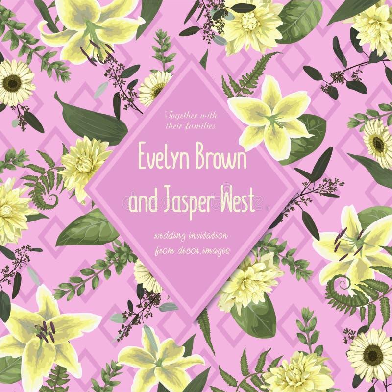 Η γαμήλια floral πρόσκληση, προσκαλεί την κάρτα Διανυσματικό watercolor, gree απεικόνιση αποθεμάτων