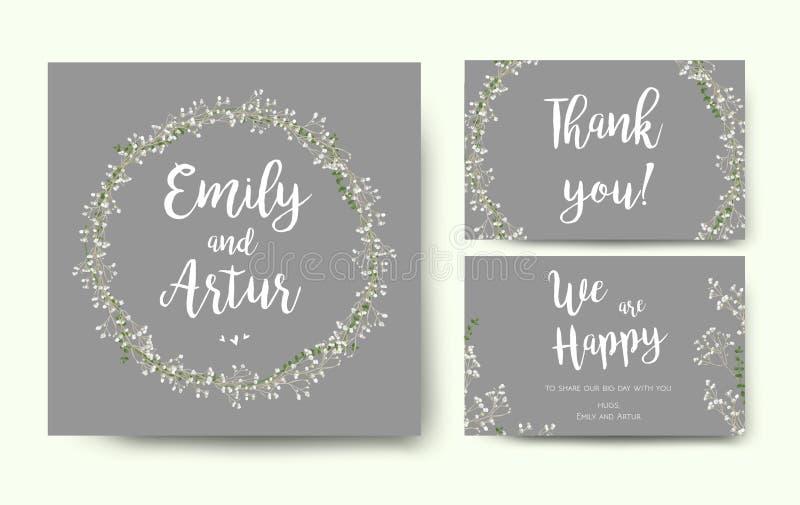 Η γαμήλια floral πρόσκληση προσκαλεί το ασημένιο γκρίζο σχέδιο καρτών λουλουδιών ελεύθερη απεικόνιση δικαιώματος