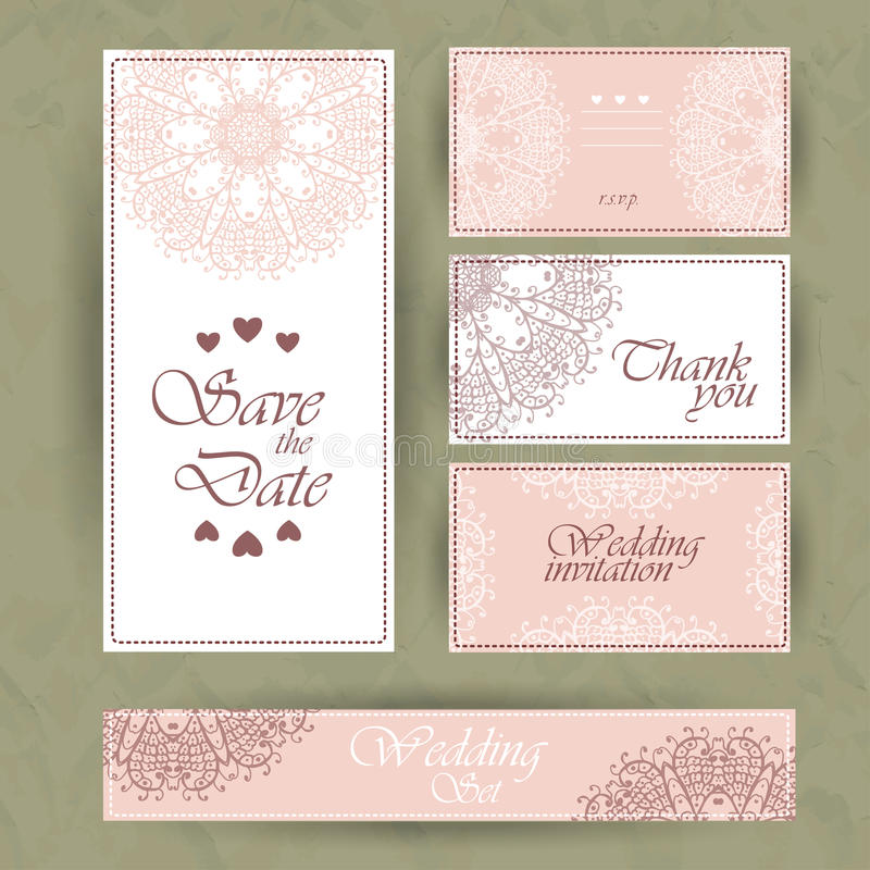 Η γαμήλια πρόσκληση, ευχαριστεί εσείς λαναρίζει, εκτός από τις κάρτες ημερομηνίας Κάρτα RSVP ελεύθερη απεικόνιση δικαιώματος