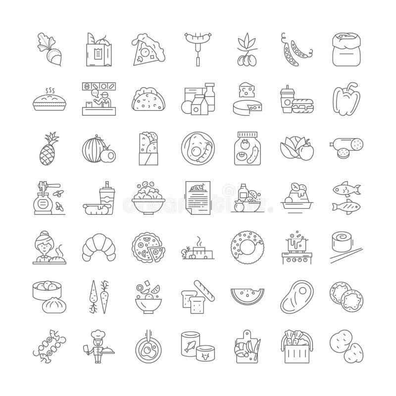 Η γαστρονομία ψωνίζει γραμμικά εικονίδια, σήματα, σύμβολα, σύνολο απεικόνισης διανυσματικής γραμμής διανυσματική απεικόνιση