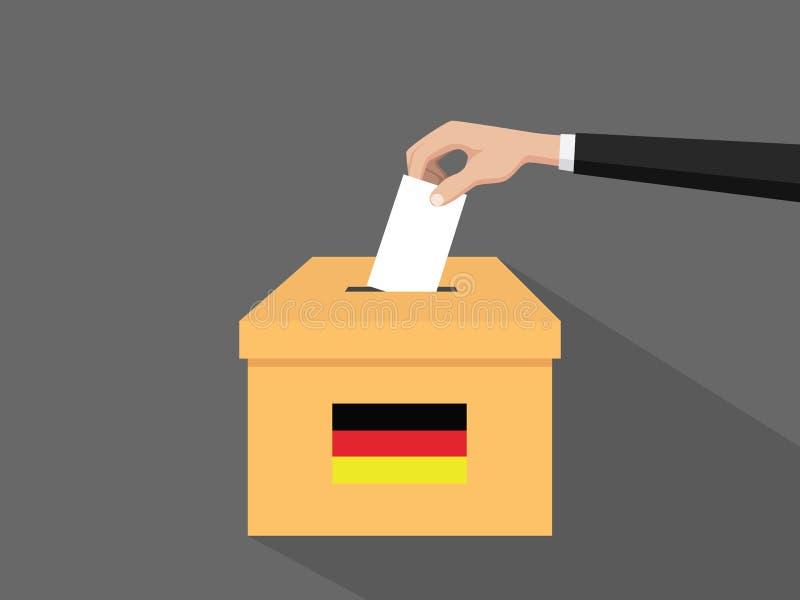 Η γερμανική απεικόνιση έννοιας ψηφοφορίας εκλογής με το χέρι ψηφοφόρων ανθρώπων δίνει το ένθετο ψηφοφοριών στην εκλογή κιβωτίων μ διανυσματική απεικόνιση