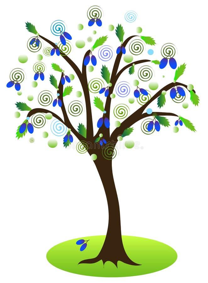 η γεωργία διακλαδίζεται νόστιμο δέντρο δαμάσκηνων καρπού έννοιας ελεύθερη απεικόνιση δικαιώματος