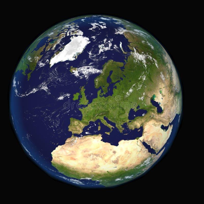 Η γη από το διάστημα που παρουσιάζει την Ευρώπη και Αφρική Εξαιρετικά λεπτομερής εικόνα, συμπεριλαμβανομένων των στοιχείων που εφ διανυσματική απεικόνιση
