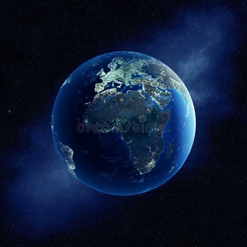 Η γη με την πόλη ανάβει τη νύχτα στοκ εικόνες με δικαίωμα ελεύθερης χρήσης