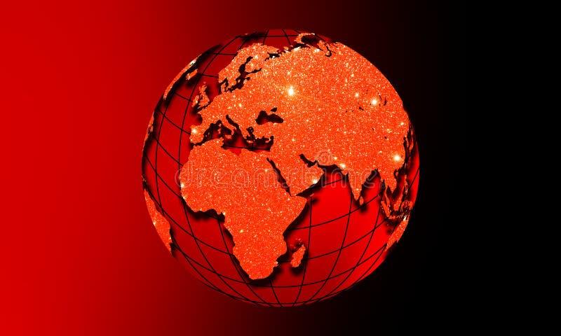 Η γη παγκόσμιων σφαιρών με ακτινοβολεί επίδραση Επιχειρησιακή έννοια παγκόσμιων επικοινωνιών Χρωματισμένη υπεριώδης ακτίνα εικόνα ελεύθερη απεικόνιση δικαιώματος
