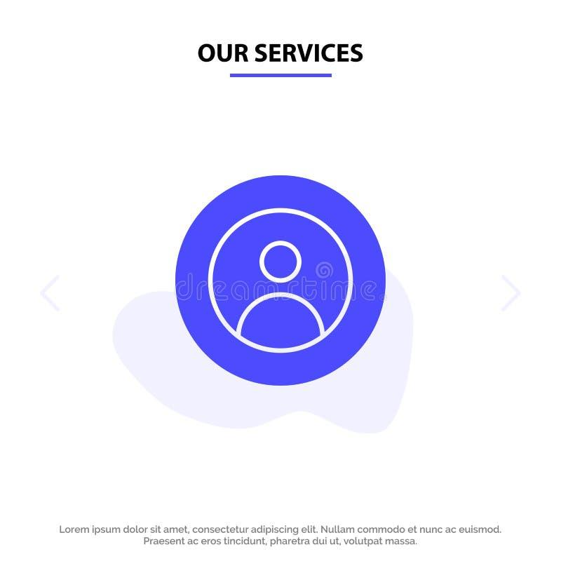 Η γη υπηρεσιών μας, σφαιρική, άνθρωποι, χρήστης, πρότυπο καρτών Ιστού εικονιδίων παγκόσμιου στερεό Glyph διανυσματική απεικόνιση