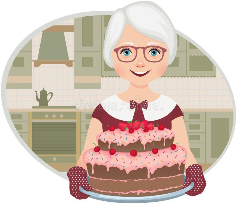 Η γιαγιά έψησε ένα κέικ ελεύθερη απεικόνιση δικαιώματος