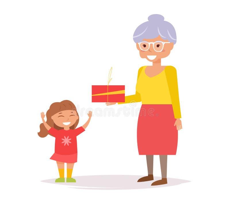 Η γιαγιά δίνει το δώρο εγγονών ελεύθερη απεικόνιση δικαιώματος