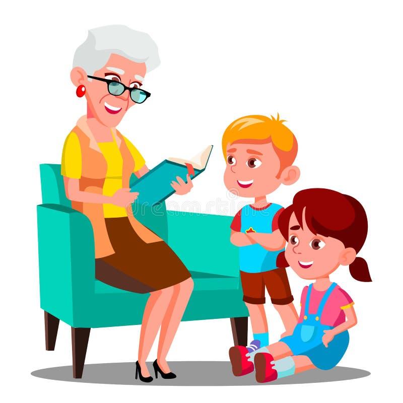 Η γιαγιά διαβάζει ένα βιβλίο στο διάνυσμα εγγονιών της απομονωμένη ωθώντας s κουμπιών γυναίκα έναρξης χεριών απεικόνιση ελεύθερη απεικόνιση δικαιώματος