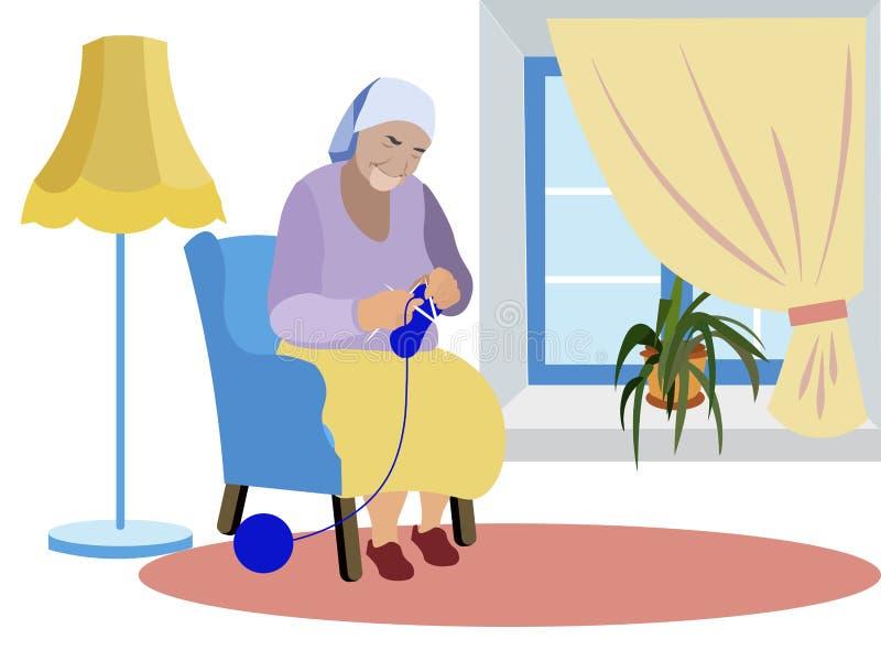 Η γιαγιά κάθεται κοντά στο παράθυρο και πλέκει τα ενδύματα Αναμονή των εγγονιών, μοναξιά Στο μινιμαλιστικό ύφος cartoon διανυσματική απεικόνιση