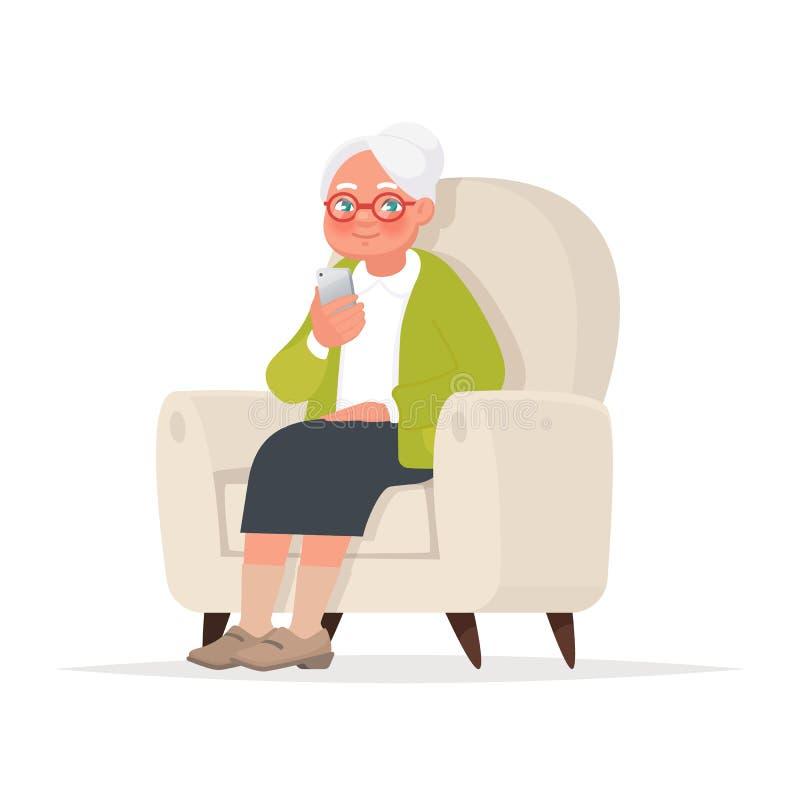 Η γιαγιά κάθεται σε μια καρέκλα και κρατά ένα τηλέφωνο στο χέρι της επίσης corel σύρετε το διάνυσμα απεικόνισης ελεύθερη απεικόνιση δικαιώματος