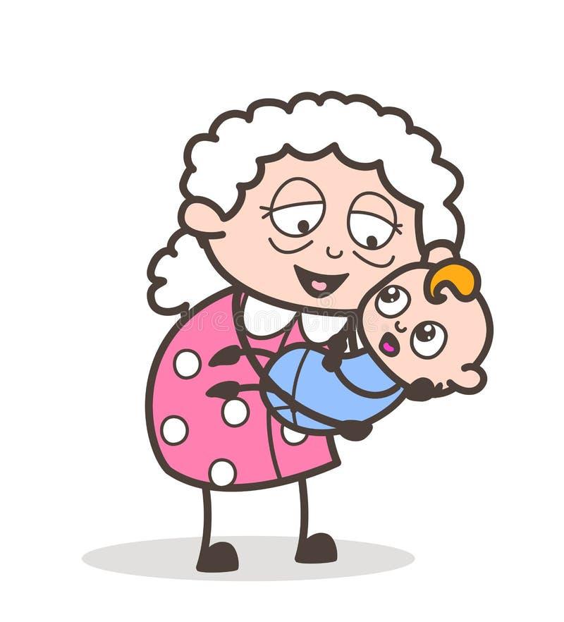 Η γιαγιά κινούμενων σχεδίων ανύψωσε ένα μωρό στο διάνυσμα περιτυλίξεων γραφικό διανυσματική απεικόνιση