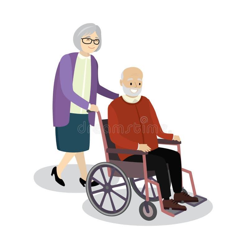 Η γιαγιά κυλά την αναπηρική καρέκλα στην οποία ηληκιωμένος συνεδρίασης ελεύθερη απεικόνιση δικαιώματος