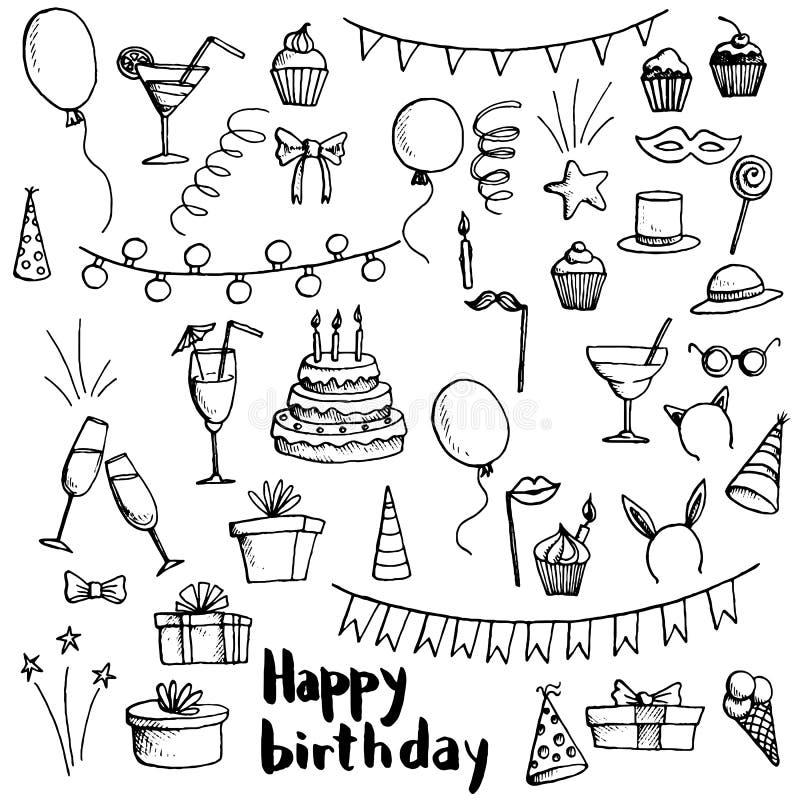 Η γιορτή γενεθλίων doodle έθεσε ελεύθερη απεικόνιση δικαιώματος