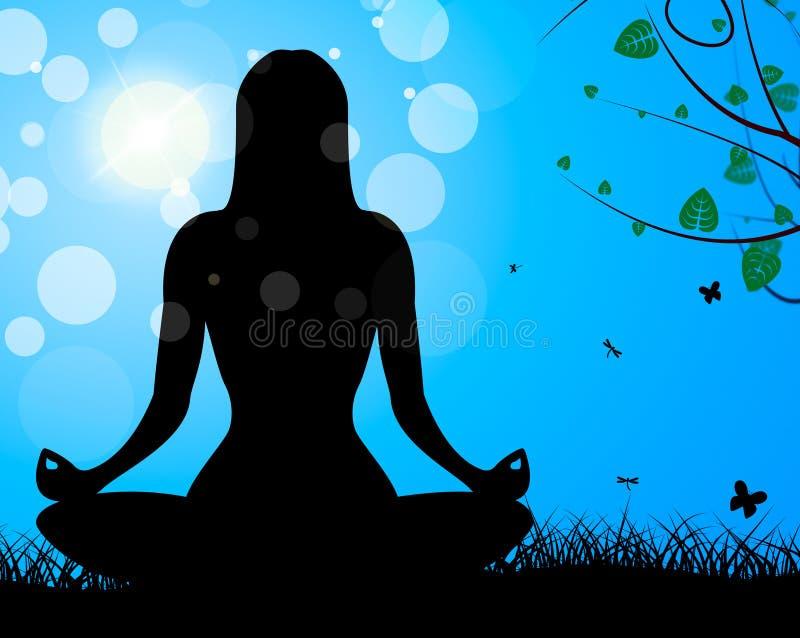 Η γιόγκα θέτει παρουσιάζει την ηρεμία και αρμονία Meditate ελεύθερη απεικόνιση δικαιώματος