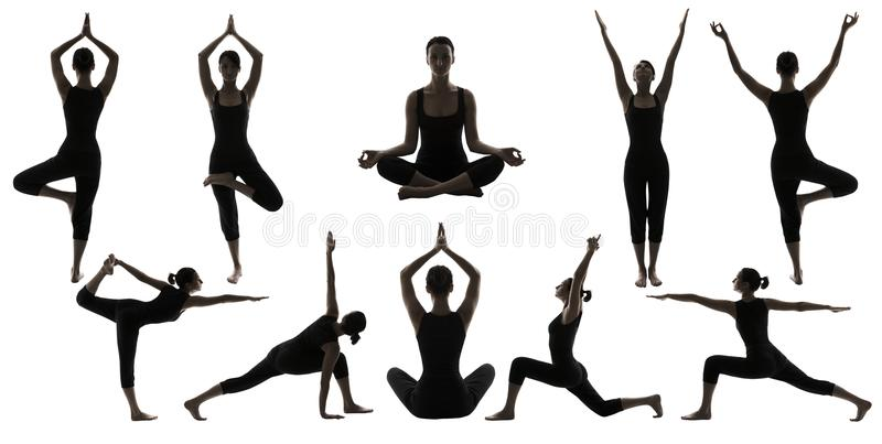 Η γιόγκα θέτει τις σκιαγραφίες, θέση Asana ισορροπίας σώματος γυναικών στοκ εικόνες
